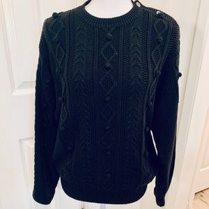 Talbots Black Cable Knit Sweater Nubby Details L